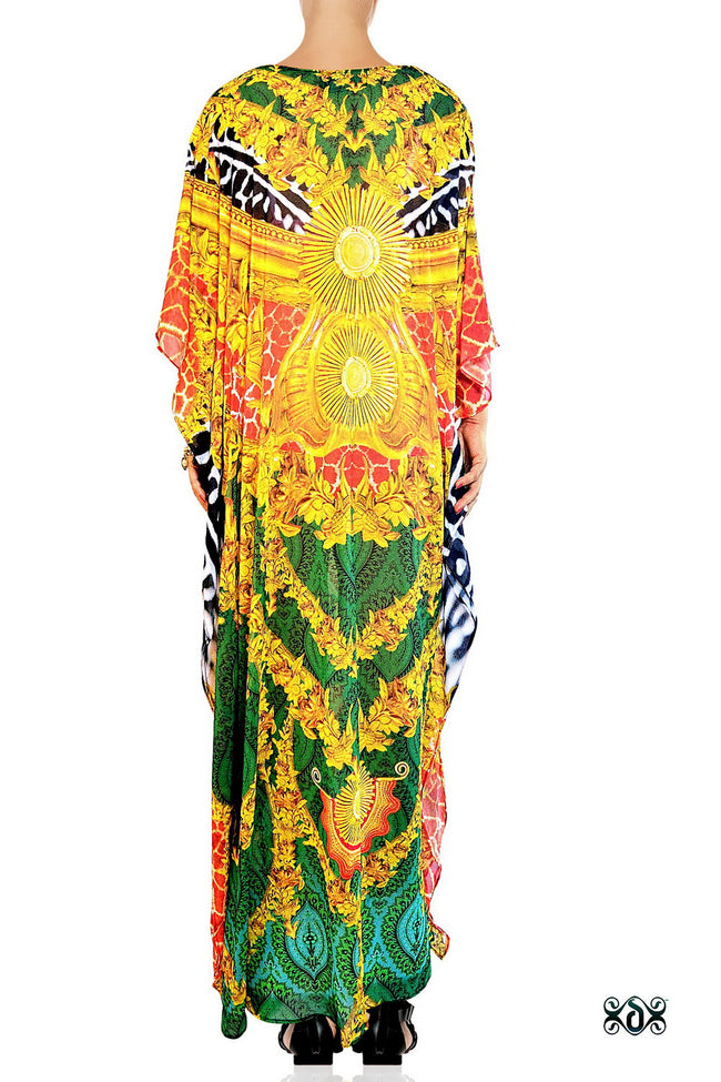 Devarshy Luxurious Green Animal Print Golden Ornate Long Embellished Designer Kaftan -1084B , Apparel - DEVARSHY, DEVARSHY  - 3