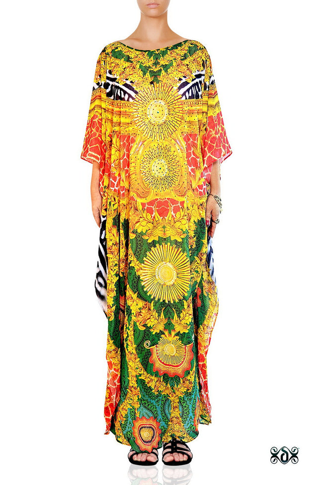 Devarshy Luxurious Green Animal Print Golden Ornate Long Embellished Designer Kaftan -1084B , Apparel - DEVARSHY, DEVARSHY  - 1