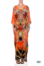 Devarshy Designer Bright Orange Decorative Digital Print Long Embellished Kaftan Maxi - 1089C , Apparel - DEVARSHY, DEVARSHY  - 1