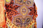 Devarshy Designer Bright Orange Decorative Digital Print Long Embellished Kaftan Maxi - 1089C , Apparel - DEVARSHY, DEVARSHY  - 4
