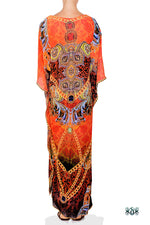 Devarshy Designer Bright Orange Decorative Digital Print Long Embellished Kaftan Maxi - 1089C , Apparel - DEVARSHY, DEVARSHY  - 3