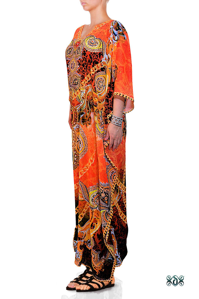 Devarshy Designer Bright Orange Decorative Digital Print Long Embellished Kaftan Maxi - 1089C , Apparel - DEVARSHY, DEVARSHY  - 2