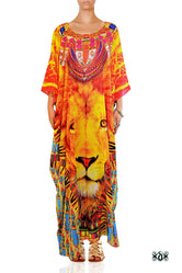 NATURE MORTE The Majestic Lion Devarshy Long Embellished Kaftan - 1092A