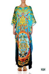 BAROCOCO Intricate Green Crystals Embellished Long Devarshy Kaftan - 1093B