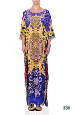 Devarshy Blue Digital Print Baroque Design Ornate Long Embellished Designer Kaftan - 1095A , Apparel - DEVARSHY, DEVARSHY  - 1