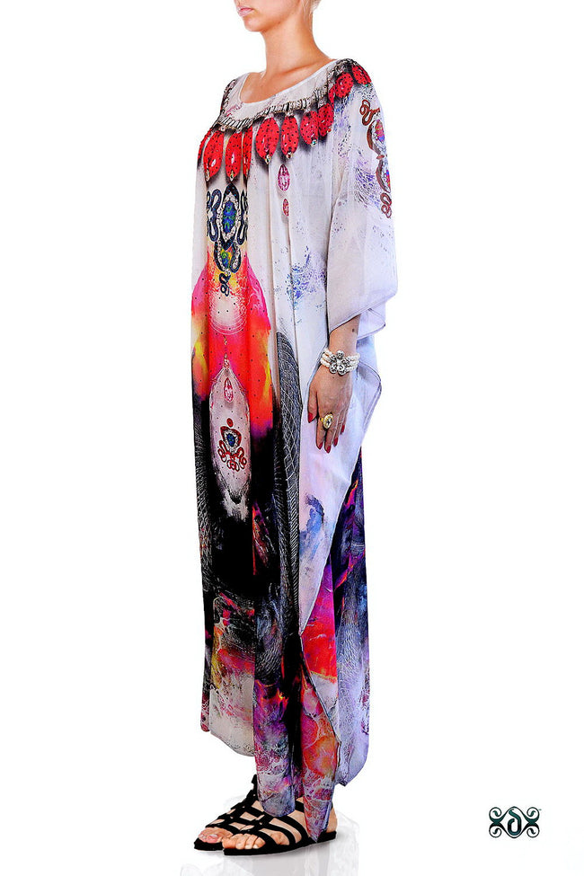 Devarshy Subtle Digital Print Stunning Decorative Long Embellished Designer Kaftan - 1099A , Apparel - DEVARSHY, DEVARSHY  - 2