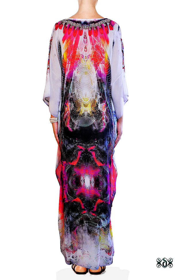Devarshy Subtle Digital Print Stunning Decorative Long Embellished Designer Kaftan - 1099A , Apparel - DEVARSHY, DEVARSHY  - 3