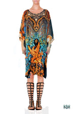 BARCOCO Blue Decorative Ornate Devarshy Short Georgette Kaftan - 1103A