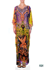 Devarshy Yellow Purple Digital Print Golden Decorative Design Long Embellished Kaftan - 1103B , Apparel - DEVARSHY, DEVARSHY  - 1
