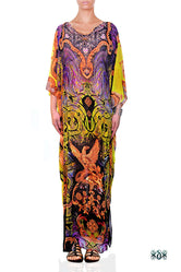 BAROCOCO Yellow Decorous Devarshy Crystals Embellished Long Kaftan - 1103B