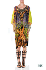 BAROCOCO Bright Yellow Decorous Devarshy Short Georgette Kaftan - 1103B