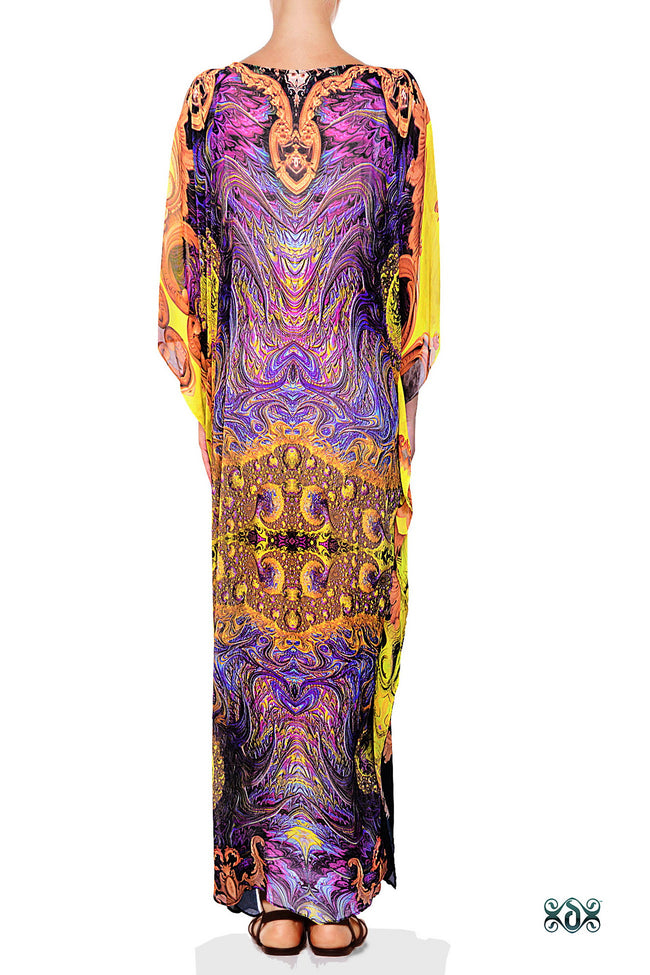 Devarshy Yellow Purple Digital Print Golden Decorative Design Long Embellished Kaftan - 1103B , Apparel - DEVARSHY, DEVARSHY  - 3
