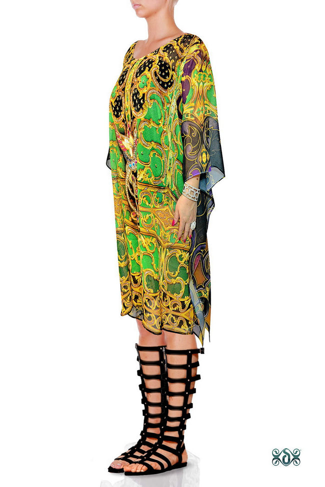 BAROCOCO Green Ornamental Devarshy Short Georgette Kaftan - 1104B