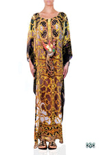 Devarshy Light Grey Digital Print Golden Adornment Long Embellished Designer Kaftan - 1104C , Apparel - DEVARSHY, DEVARSHY  - 1