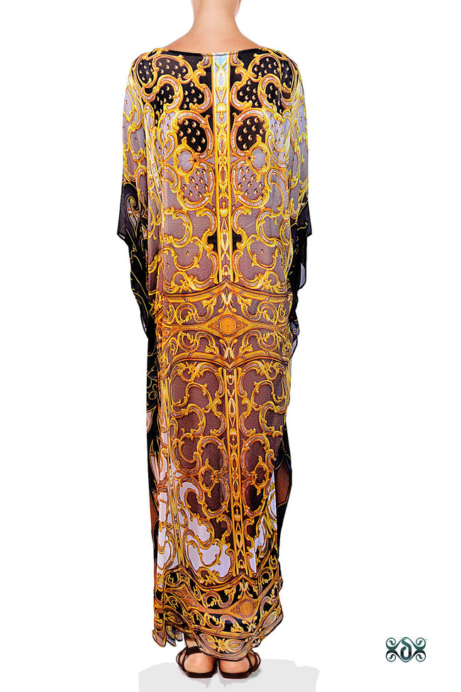 Devarshy Light Grey Digital Print Golden Adornment Long Embellished Designer Kaftan - 1104C , Apparel - DEVARSHY, DEVARSHY  - 3