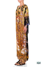 Devarshy Light Grey Digital Print Golden Adornment Long Embellished Designer Kaftan - 1104C , Apparel - DEVARSHY, DEVARSHY  - 2