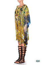 BAROCOCO Golden Ornamental Devarshy Embellished Short Georgette Kaftan - 1104C