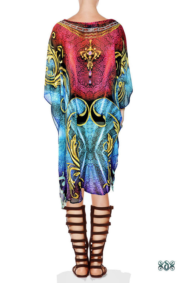 AURUM 79 Blue Contrast Ornate Devarshy Short Georgette Kaftan - 1105B