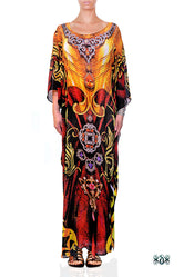 AURUM 79 Royal Red Ornate Devarshy Embellished Long Georgette Kaftan - 1105C