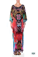 Devarshy Designer Vibrant Terranean Design Digital Print Long Embellished Kaftan Dress - 1106A , Apparel - DEVARSHY, DEVARSHY  - 1