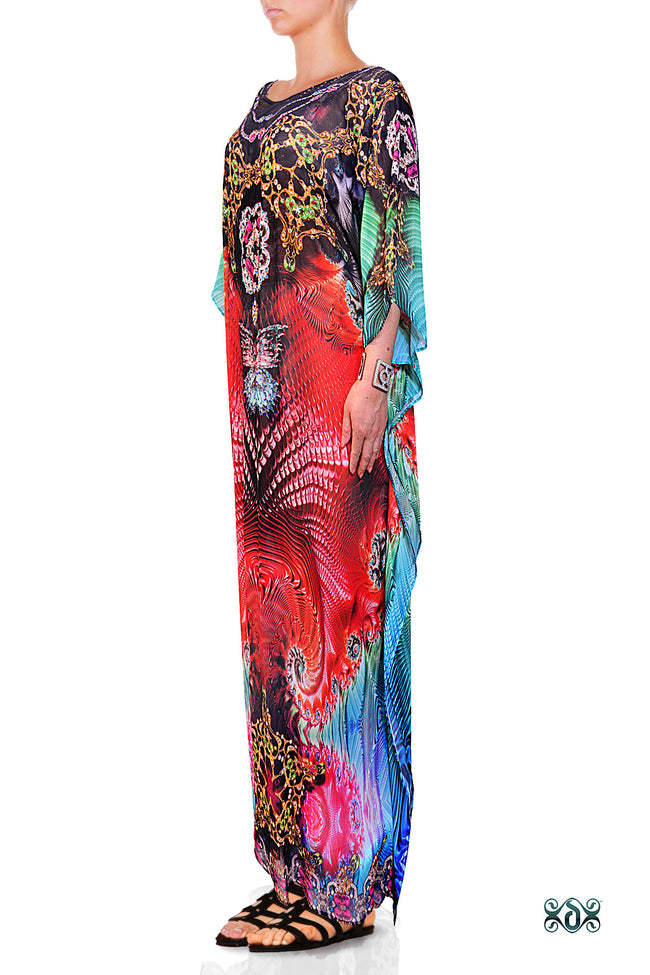 Devarshy Designer Vibrant Terranean Design Digital Print Long Embellished Kaftan Dress - 1106A , Apparel - DEVARSHY, DEVARSHY  - 2