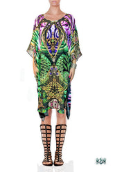 SUB-AQUALOGY Sea Green Corals Digital Print Devarshy Long Embellished Designer Kaftan - 1107A