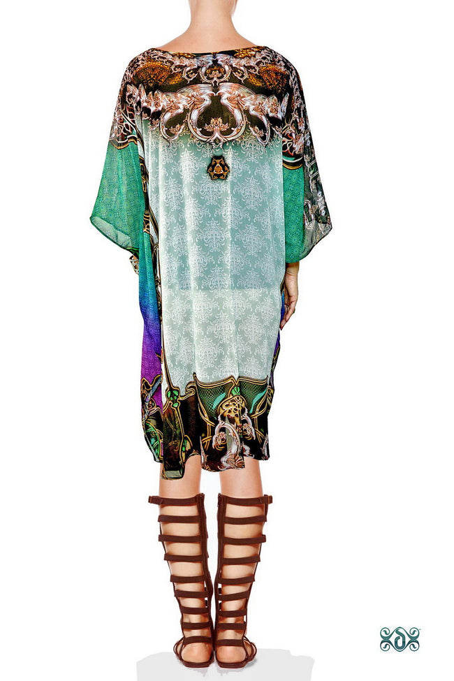 BAROCOCO Decorated Seahorse Devarshy Short Georgette Kaftan - 1108C