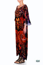 Devarshy Digital print Decorative Gold Elements Long Embellished Kaftan Gown - 1111 A , Apparel - DEVARSHY, DEVARSHY  - 2