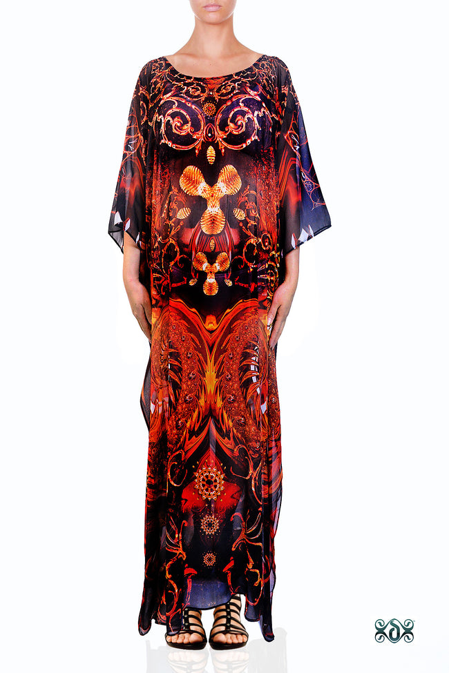 Devarshy Digital print Decorative Gold Elements Long Embellished Kaftan Gown - 1111 A , Apparel - DEVARSHY, DEVARSHY  - 1