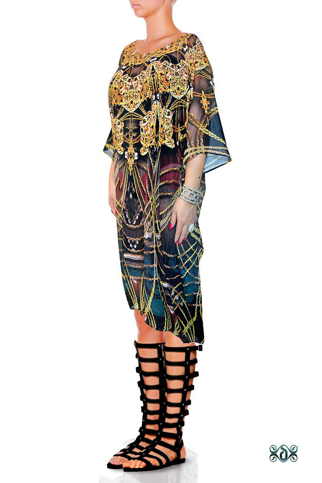 AURUM 79 Dark Intricate Ornate Devarshy Short Georgette Kaftan - 1113A