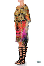 Aurum 79 Golden Intricate Devarshy Embellished Short Georgette Kaftan - 1113B