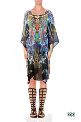 AERO-TERRANIUS Blue Waves Devarshy Short Georgette Kaftan - 1114A