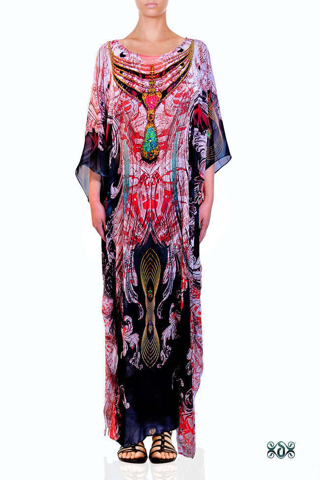 Devarshy Digital Print Artistic Long Embellished Designer Kaftan Dress - 1114 B , Apparel - DEVARSHY, DEVARSHY  - 1