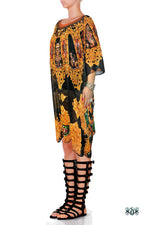 AURUM 79 Dark Ornate Devarshy Embellished Short Georgette Kaftan - 1116A