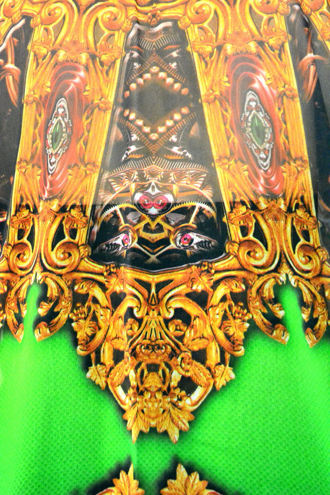 AURUM 79 Green Golden Ornate Devarshy Short Embellished Kaftan - 1116B