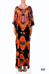 AURUM 79 Deep Dark Embellished Devarshy Long Georgette Kaftan - 1116A