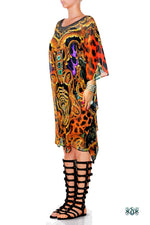BAROCOCO Colorful Animal Print Devarshy Short Georgette Kaftan - 1117B