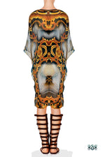 BAROCOCO Grey Ornate Devarshy Crystals Embellished Pure Silk Short Kaftan - 1117D