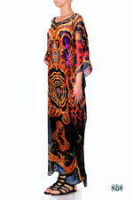 Devarshy Designer Animal Print Golden Ornate Long Embellished Kaftan Dress - 1117B , Apparel - DEVARSHY, DEVARSHY  - 2