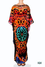 Devarshy Designer Animal Print Golden Ornate Long Embellished Kaftan Dress - 1117B , Apparel - DEVARSHY, DEVARSHY  - 3
