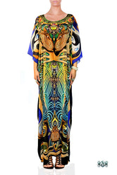 ART NOUVEAU Blue Rhythmic Curves Devarshy Long Georgette Kaftan - 1118A