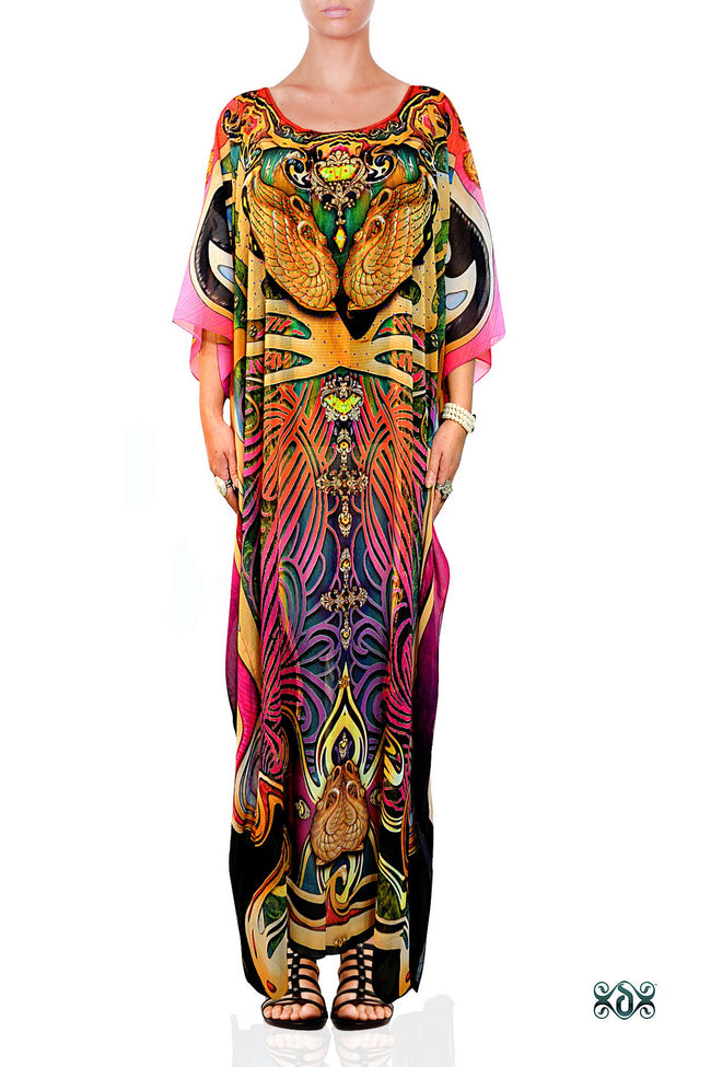 ART NOUVEAU Artistic Decorated Fuchsia Devarshy Long Embellished Kaftan - 1118B