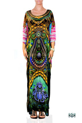 NATURE MORTE Ornate Peacock Feathers Devarshy Long Embellished Kaftan - 1119A