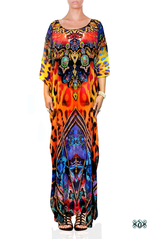 NATURE MORTE Vibrant Animal Print Devarshy Long Embellished Kaftan - 1120A