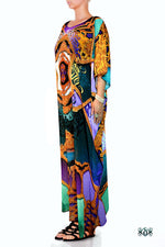 BAROCOCO Ornate Calligraphic Prints Devarshy Long Georgette Kaftan - 1121A