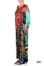 BAROCOCO Decorative Aqua Devarshy Embellished Long Georgette Kaftan - 1125A