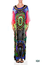 BAROCOCO Colorful Ornate Devarshy Long Georgette Kaftan - 1125C