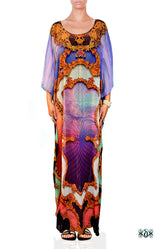BAROCOCO Decorative Purple Devarshy Long Georgette Kaftan - 1128A