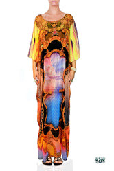 BAROCOCO Yellow Ornate Devarshy Embellished Long Georgette Kaftan - 1128B