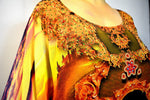 BAROCOCO Yellow Ornate Devarshy Long Georgette Kaftan - 1128B
